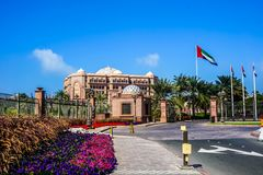 Abu Dhabi Emirates Palace Flag image stock