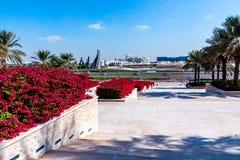 Abu Dhabi Förenade Arabemiraten - December 13, 2018: Beståndsdelar av förbättring i parkerar framme av den storslagna moskén royaltyfria bilder