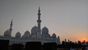 Abu Dhabi Grand Mosque an der Dämmerung Stockbild