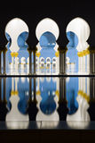 Abu-Dhabi, Grand Moss columns and pole reflection by night Stock Images