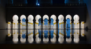 Abu-Dhabi Grand Moss by night, details and reflection Royalty Free Stock Photos