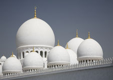 Abu-Dhabi, Grand Moss white wall and domes Stock Photography