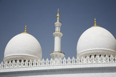 Abu-Dhabi, Grand Moss white wall and domes Royalty Free Stock Photography