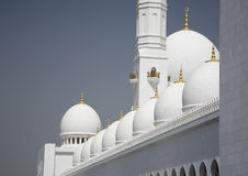 Abu-Dhabi Grand Moss white walls and domes Stock Photos