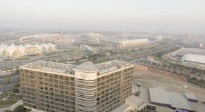 ABU DHABI - GRUDZIEŃ 2016: Yas wyspy panoramiczny widok z lotu ptaka Yas Zdjęcie Royalty Free