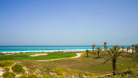 Abu Dhabi I sommaren av 2016 Den skyddade oasen på hotellSten Regis Saadiyat Island Resort Fotografering för Bildbyråer
