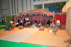 Abu Dhabi International Hunting och ryttareutställning (ADIHEX) - Abu Dhabi Tourism & kulturmyndighetstält Royaltyfri Bild