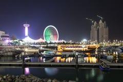 Abu Dhabi-Jachthafen nachts Stockbild