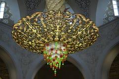 Abu Dhabi - lámpara de jeque Zayed Mosque Fotografía de archivo libre de regalías
