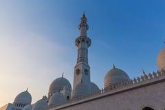 Abu Dhabi-Moschee bei Sonnenuntergang Stockfotos