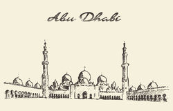 Abu Dhabi mosque Sheikh Zayed Mosque drawn Royalty Free Stock Photography
