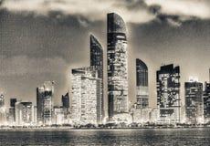 Abu Dhabi-Nachtskyline, UAE Stockbilder