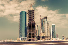 Abu Dhabi new district with skyscrapers construction Royalty Free Stock Photo