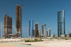 Abu Dhabi new district with skyscrapers construction Royalty Free Stock Image