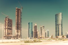 Abu Dhabi new district with skyscrapers construction. United Arab Emirates Royalty Free Stock Photography
