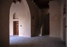 Abu Dhabi old balding Aldafra castle. Outside room window and door royalty free stock photography