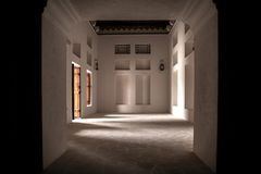 Abu Dhabi old balding Aldafra castle. In said room window and door stock photos