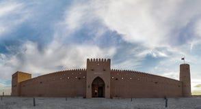 Abu Dhabi old balding Aldafra castle. In said room window and door stock photo