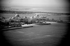 Abu Dhabi palice on waterfront. A black and white photo of Abu Dhabi waterfront Stock Photo