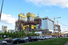 Abu Dhabi Plaza towers in Astana under construction in Summer 2016 Stock Photos