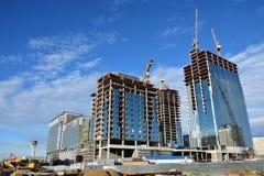 ABU DHABI PLAZA under contruction in Astana Royalty Free Stock Images