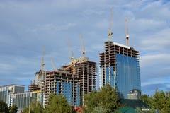 ABU DHABI PLAZA under contruction in Astana Stock Photo