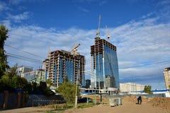 ABU DHABI PLAZA under contruction in Astana Royalty Free Stock Image