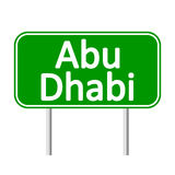 Abu Dhabi road sign. Stock Photos