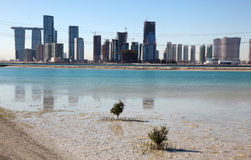 Abu Dhabi from Saadiyat Island Royalty Free Stock Photos