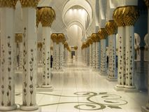 Abu Dhabi Sheik Zayed Mosque beautiful interior design details and architecture.  stock photo