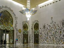Abu Dhabi Sheik Zayed Mosque beautiful interior design details and architecture.  stock photos