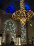 Abu Dhabi Sheik Zayed Mosque beautiful interior design lights, details and architecture stock images
