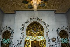 Abu Dhabi Sheikh Zayed Grand moskéböner Hall View arkivfoto