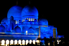 Abu Dhabi Sheikh Zayed Grand Mosque at Night Royalty Free Stock Images
