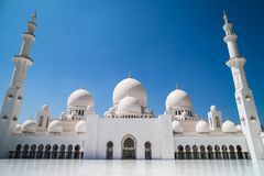 Abu Dhabi Sheikh Zayed mosque. Main square royalty free stock image