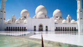Abu Dhabi Sheikh Zayed mosque. Main square stock images