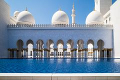 Abu Dhabi Sheikh Zayed mosque. Arcs stock photography