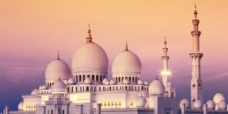 Abu Dhabi Sheikh Zayed Mosque bei Sonnenuntergang Stockbild