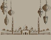 Abu Dhabi, Sheikh Zayed Mosque, wijnoogst gegraveerde illustratie, getrokken hand Stock Fotografie