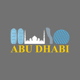 Abu Dhabi sign. Sight UAE. Skyscrapers and a mosque. Vector Flat Stock Images