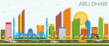 Abu Dhabi Skyline avec les bâtiments de couleur et le ciel bleu Images libres de droits