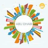 Abu Dhabi Skyline avec les bâtiments de couleur, le ciel bleu et l'espace de copie Photographie stock libre de droits