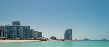 Abu Dhabi Skyline and Beach Stock Image