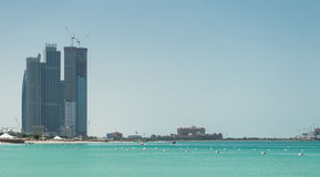 Abu Dhabi Skyline and Beach Royalty Free Stock Photos