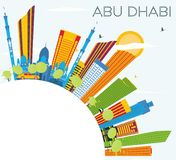 Abu Dhabi Skyline with Color Buildings, Blue Sky and Copy Space. Royalty Free Stock Photos