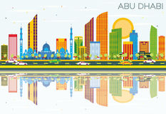 Abu Dhabi Skyline with Color Buildings, Blue Sky and Reflections. Vector Illustration. Business Travel and Tourism Concept with Modern Architecture. Image for Royalty Free Illustration