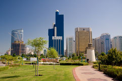Abu Dhabi Skyline with lighthouse Stock Images