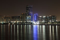 Abu Dhabi skyline at night Royalty Free Stock Photography
