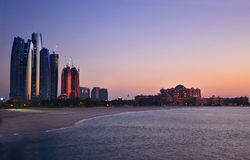 Abu Dhabi Skyline. Panorama of Abu Dhabi at night, capital of United Arab Emirates stock images