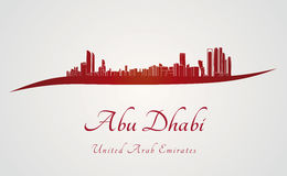 Abu Dhabi skyline in red and gray background Stock Photo